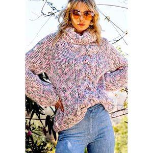 2 LEFT POL Handmade Chunky Knit Turtleneck Sweater